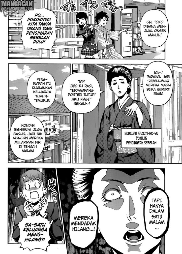 Souma dan Megumi menanyakan kepada pemilik peninapan sebelah peningapan Kazemi no yu